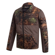 HM15008 Men's polyester camouflage printed woven mix knitted padded hunting jacket with pocket