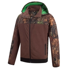 HM15009 Men's polyester camouflage printed woven mix knitted padded hunting jacket with hood and pocket