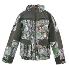 HM16004-1 Men's polyester camouflage printed woven hunting jacket with hood and pocket