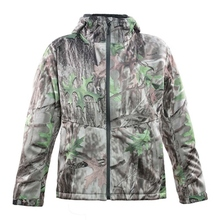 HM17006-1 Men's polyester camouflage printed knitted softshell hunting jacket with hood and pocket