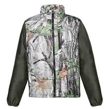 HM17010-1 Men's polyester camouflage printed woven mix knitted padded hunting jacket with pocket