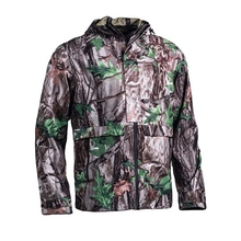 HM17016 Men's polyester camouflage printed woven 2 layer hunting jacket with hood and pocket