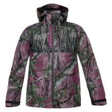 HW17002-3 Women's polyester camouflage printed woven hunting jacket with hood and pocket