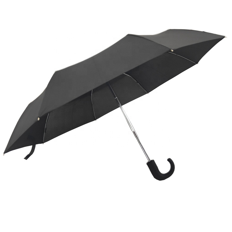Custom Print Logo Auto Open Hook Handle 3 Foldable Umbrella
