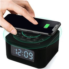 black alarm clock wireless charging alarm clock