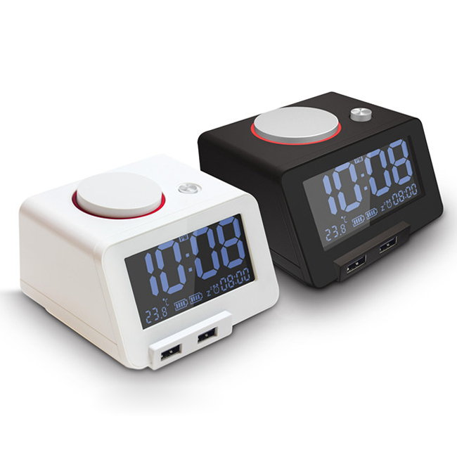 largefont display snooze white and black dual usb charger alarm clock