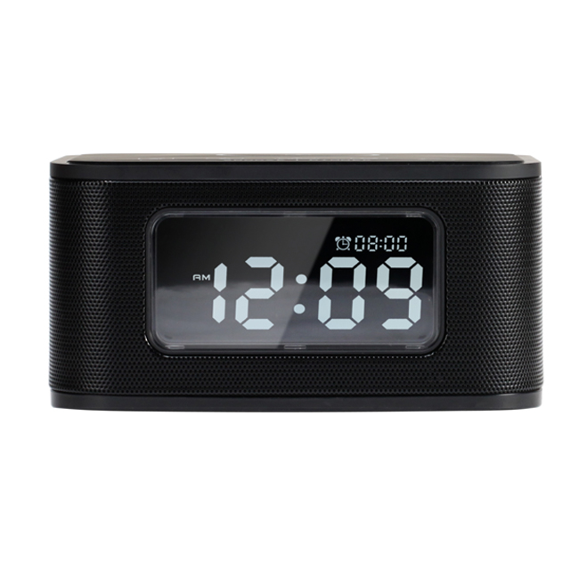 Black  Wireless Charger Bluetooth Speaker with Alarm Clock,FM Radio and USB charger