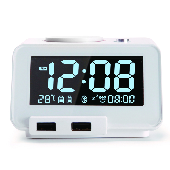 home all smartphones white dual usb charger bluetooth speake alarm clock