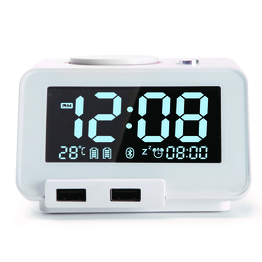 White  Bluetooth Speake with Alarm Clock,Dual USB Charger and Temperature Function