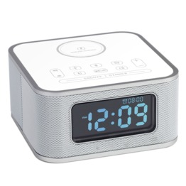 White Wireless Charger Bluetooth Speaker with Alarm Clock,FM Radio and USB Charging Port D2-QI