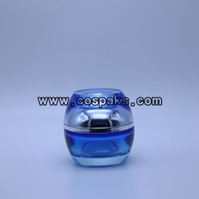 Wholesale Blue Cosmetic Glass Empty Jars and Bottles