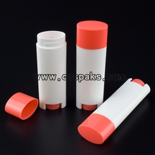 White Lip Balm with Orange Lid 5g Plastic Tube
