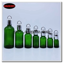 Green Pigmentation Glass Oil Bottles with Droppers