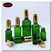 Green Bottle with Gold or Silver Pressed Dropper Cap