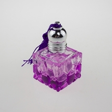 Purple Glass Perfume Roll On Bottle in Square Shape
