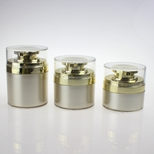 Empty Plastic Round Gold Airless Cosmetic Jar