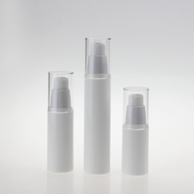 Round White Cosmetic Airless Bottle 15ml 30ml 50ml