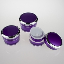 Plastic Acrylic Cosmetic Jars for Facial Cream in Purple