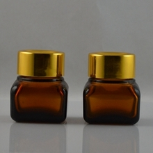 15G Square Amber Glass Jar for Cosmetic with Gold Lids