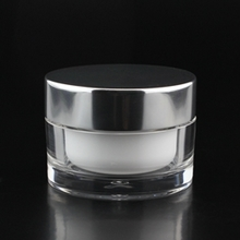 Round Clear Cosmetic Jar with Silver Cover Wholesale