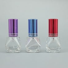 Glass Perfume Bottle with Colored Cap in Special Shape