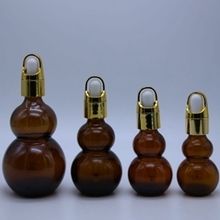 Amber Double Gourd Dropper Bottle with Lid