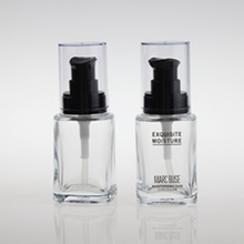 Square Clear Glass Liquid Foundation Bottle with Round Cap