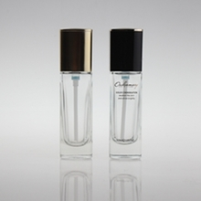 Square Glass Liquid Foundation Bottle with Black or Gold Cap