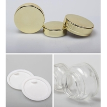 Clear Shoulder Glass Cream Jar with Electroplated Cap