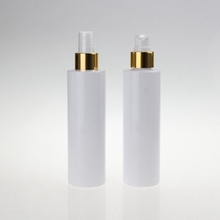 Cosmetic Plastic Lotion Pump Bottle with Gold Collar