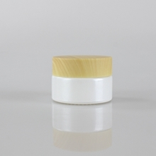 Beauty Glass Pearl White Cream Jar Packaging with Bamboo Cap