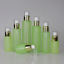 New Green Glass Lotion Bottle with Gold or Silver Collar