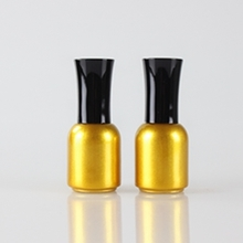 Luxury Gold Glass Bright Nail Polish Bottle with Black Cap