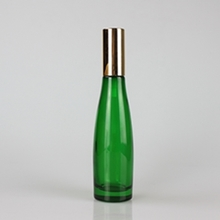 90ml Green Glass Lotion Pump Bottle with Gold Cover