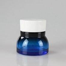 50g 150g Blue Wide Bottom Jar with White Plastic Cap