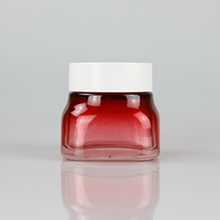 50g 150g Red Gradient Glass Cream Jar with White Cover