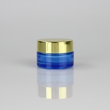 20g 30g 50g Blue Glass Cream Jar with Gold Lids