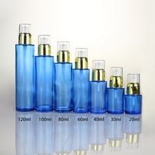 Multi-size Blue Glass Lotion Pump Bottle with Gold Collar