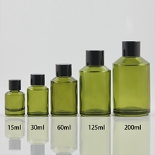 Multi-size Green Frosted Glass Bottle with Rotating Cover