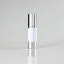 30ml 50ml White Airless Pump Bottle with Silver Cover