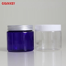 200g Clear Blue PET Cream Jar with Aluminium Cap