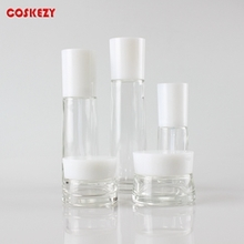 Clear Glass Cosmetic Set with White Cover
