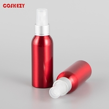 Red Colored Aluminium Bottle with Mist Spray Pump in 100ml