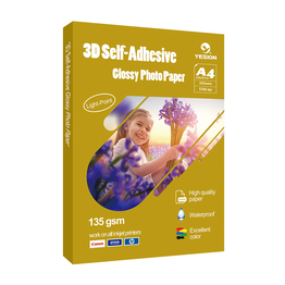 3D glossy self-adhesive photo paper